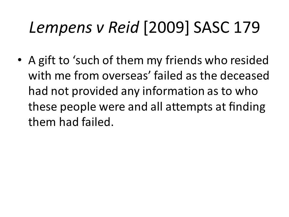 Lempens v Reid [2009] SASC 179